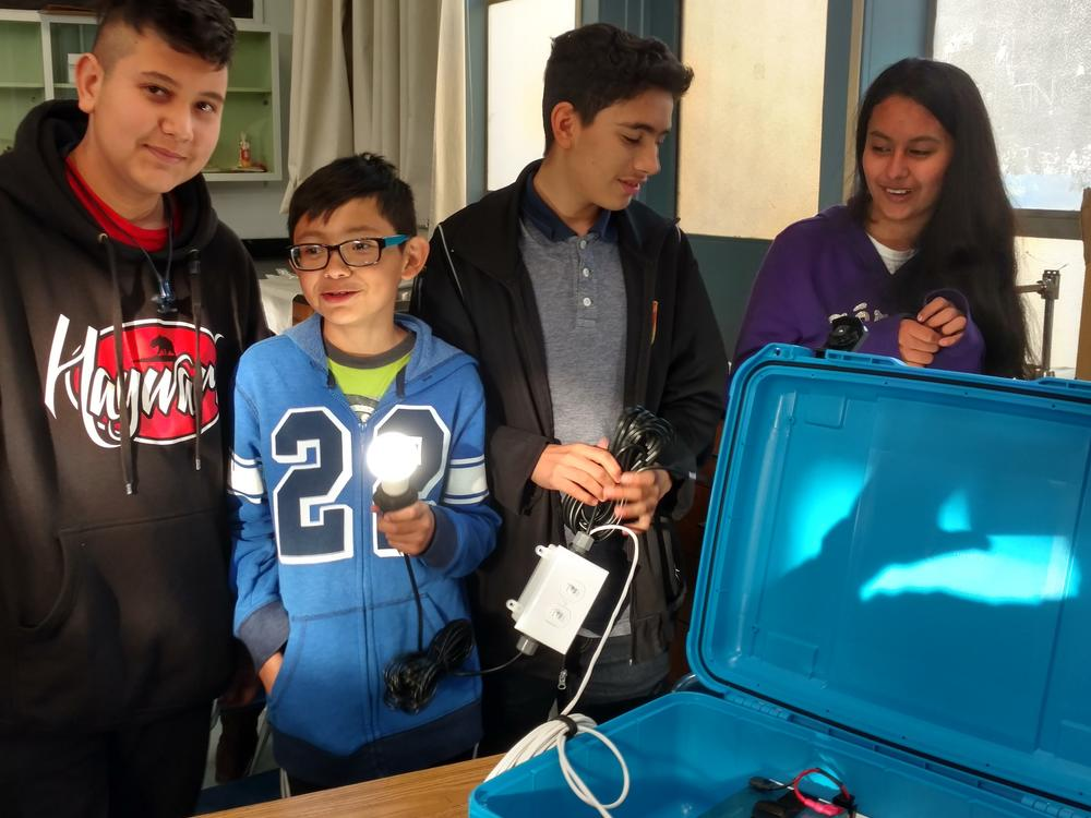 students with solar suitcase